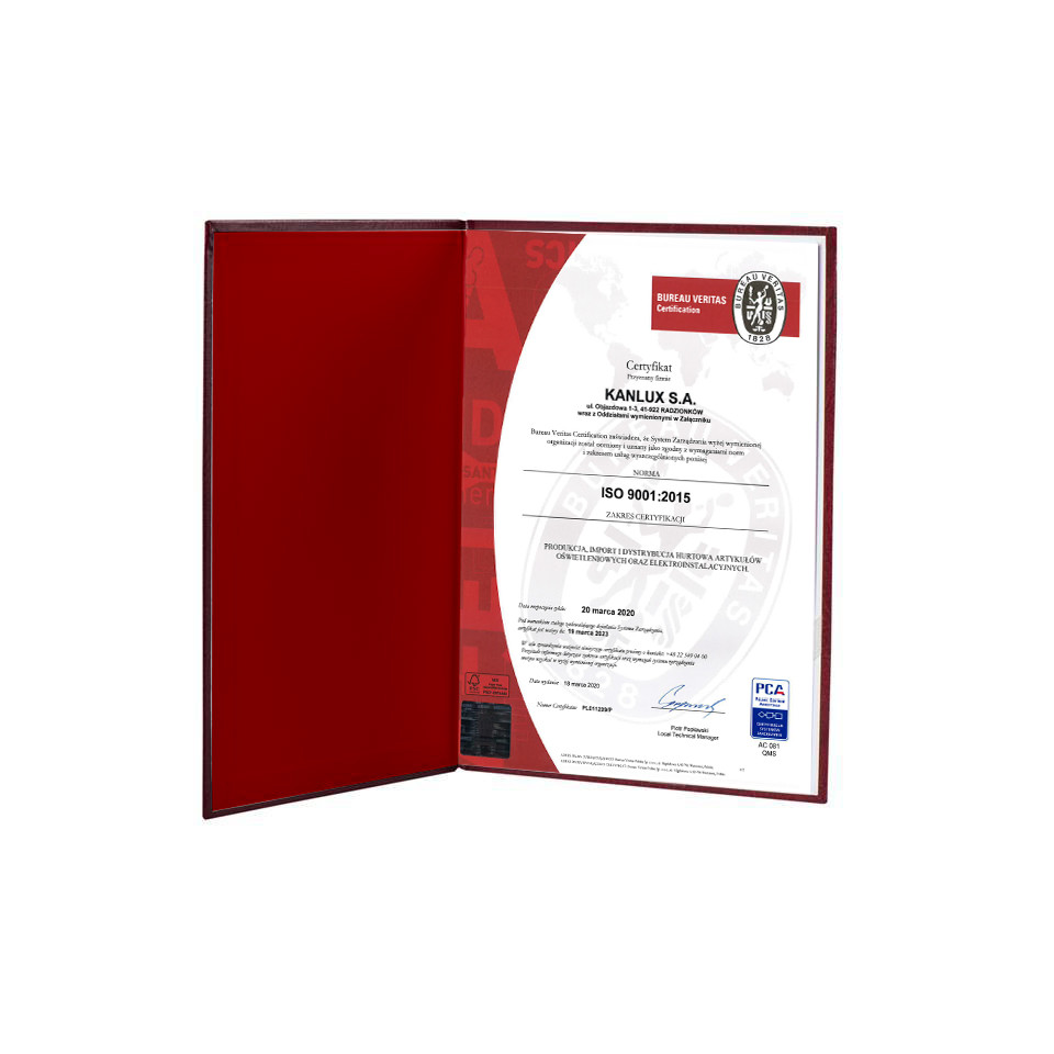 ISO 9001-2015 recertification Kanlux 2020